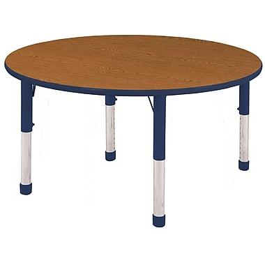 """48"""" Round T-Mold Activity Table, Oak/Navy/Chunky"""