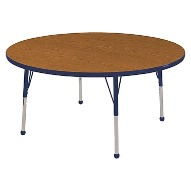 """48"""" Round T-Mold Activity Table, Oak/Navy/Toddler Ball"""