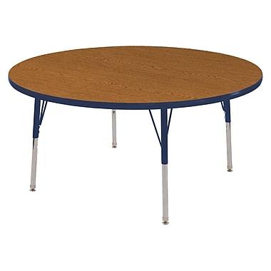 "48"" Round T-Mold Activity Table, Oak/Navy/Toddler Swivel"