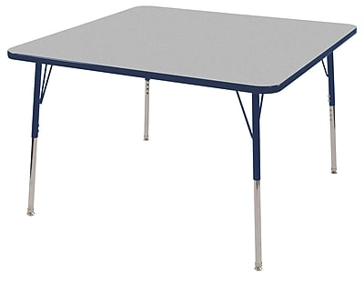 "30"" Square T-Mold Activity Table, Grey/Navy/Toddler Swivel"