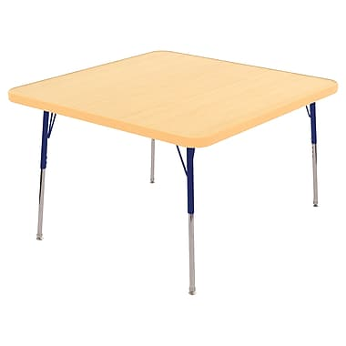 "30"" Square T-Mold Activity Table, Maple/Maple/Navy/Standard Swivel"