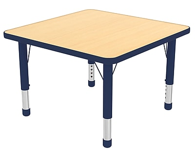 """30"""" Square T-Mold Activity Table, Maple/Navy/Chunky"""