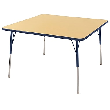 """30"""" Square T-Mold Activity Table, Maple/Navy/Standard Swivel"""