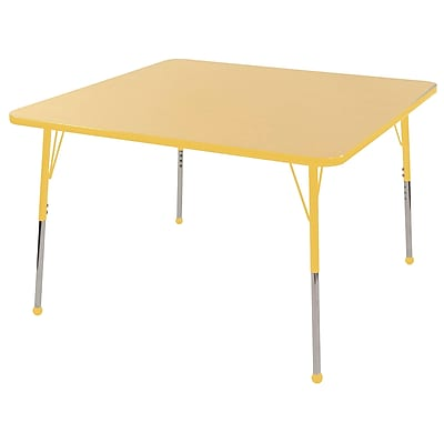 """30"""" Square T-Mold Activity Table, Maple/Yellow/Toddler Ball"""