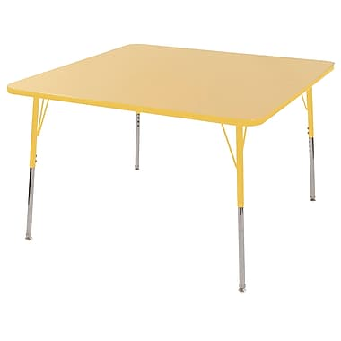 """30"""" Square T-Mold Activity Table, Maple/Yellow/Toddler Swivel"""