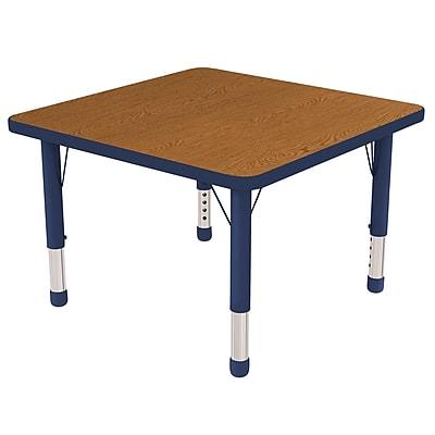 "30"" Square T-Mold Activity Table, Oak/Navy/Chunky"