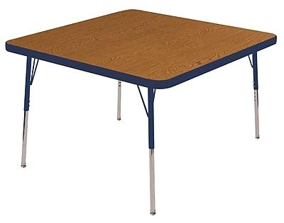 "30"" Square T-Mold Activity Table, Oak/Navy/Standard Swivel"