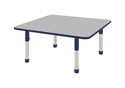 "48"" Square T-Mold Activity Table, Grey/Navy/Chunky"