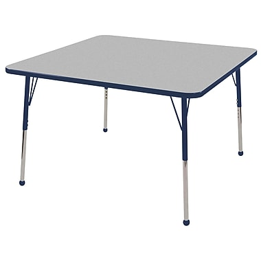 "48"" Square T-Mold Activity Table, Grey/Navy/Standard Ball"