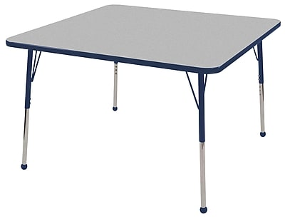"48"" Square T-Mold Activity Table, Grey/Navy/Toddler Ball"