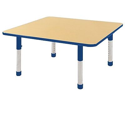 """48"""" Square T-Mold Activity Table, Maple/Blue/Chunky"""