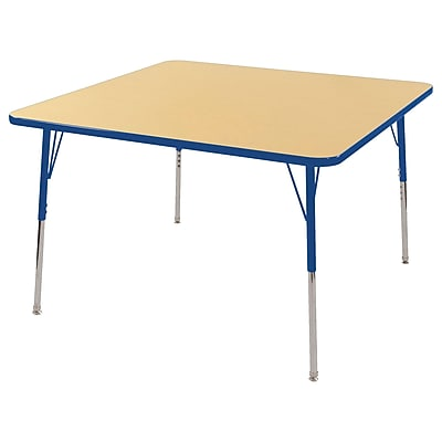 "48"" Square T-Mold Activity Table, Maple/Blue/Standard Swivel"