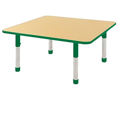 """48"""" Square T-Mold Activity Table, Maple/Green/Chunky"""
