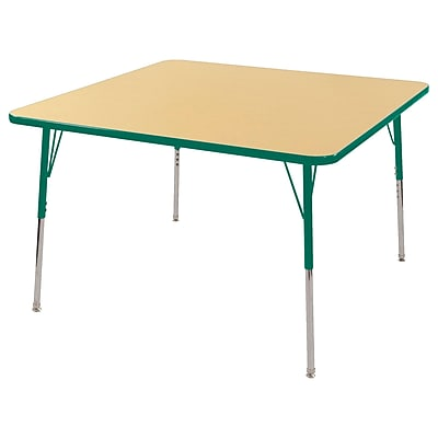 "48"" Square T-Mold Activity Table, Maple/Green/Toddler Swivel"