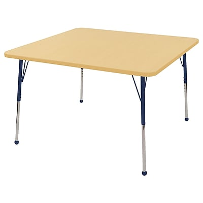 """48"""" Square T-Mold Activity Table, Maple/Maple/Navy/Standard Ball"""
