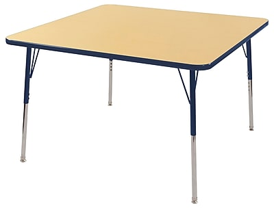 """48"""" Square T-Mold Activity Table, Maple/Navy/Toddler Swivel"""