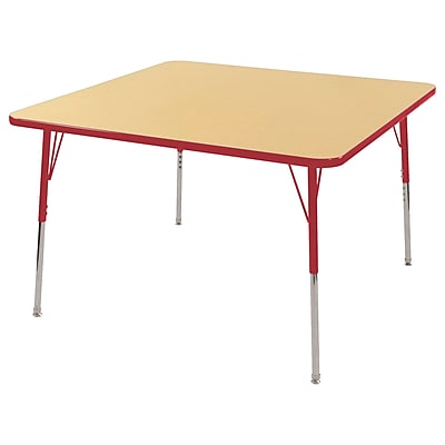 "48"" Square T-Mold Activity Table, Maple/Red/Standard Swivel"