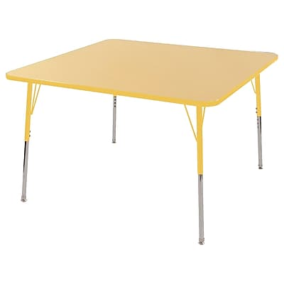 "48"" Square T-Mold Activity Table, Maple/Yellow/Toddler Swivel"