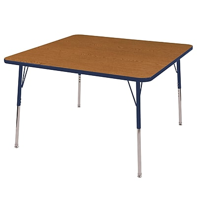 "48"" Square T-Mold Activity Table, Oak/Navy/Standard Swivel"