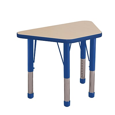"18""x30"" Trapezoid T-Mold Activity Table, Maple/Blue/Chunky"