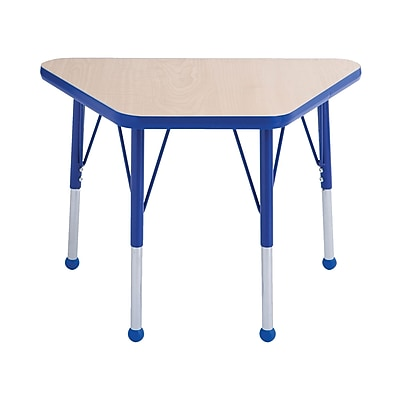 "18""x30"" Trapezoid T-Mold Activity Table, Maple/Blue/Standard Ball"