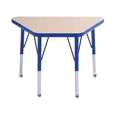 "18""x30"" Trapezoid T-Mold Activity Table, Maple/Blue/Toddler Swivel"