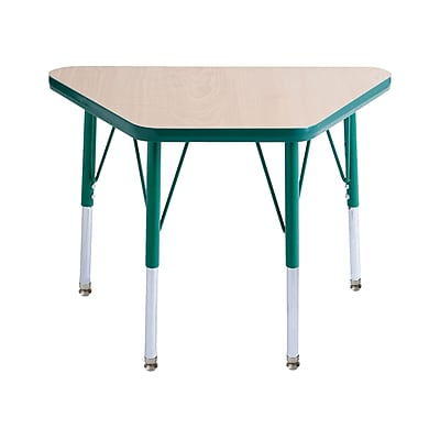 "18""x30"" Trapezoid T-Mold Activity Table, Maple/Green/Toddler Swivel"