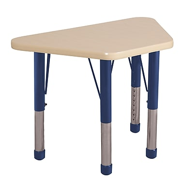 "18""x30"" Trapezoid T-Mold Activity Table, Maple/Maple/Navy/Chunky"