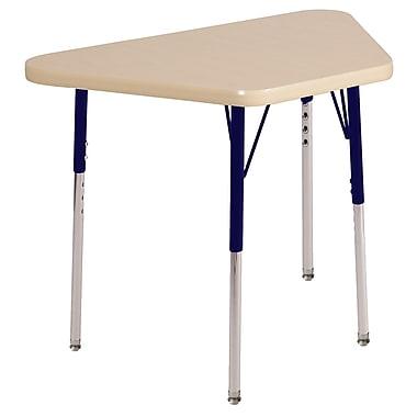 "18""x30"" Trapezoid T-Mold Activity Table, Maple/Maple/Navy/Toddler Swivel"