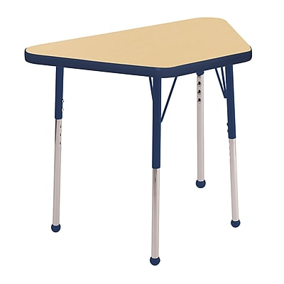 "18""x30"" Trapezoid T-Mold Activity Table, Maple/Navy/Standard Ball"
