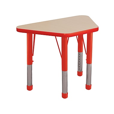 "18""x30"" Trapezoid T-Mold Activity Table, Maple/Red/Chunky"