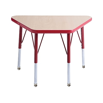"""18""""x30"""" Trapezoid T-Mold Activity Table, Maple/Red/Standard Swivel"""