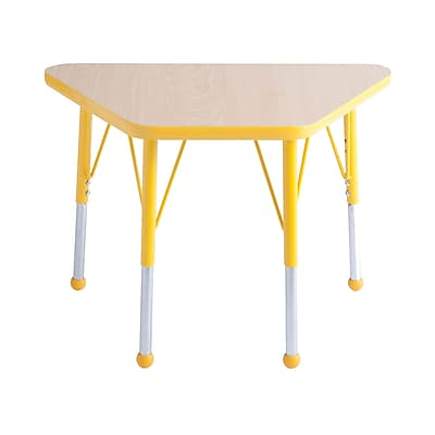 """18""""x30"""" Trapezoid T-Mold Activity Table, Maple/Yellow/Toddler Ball"""