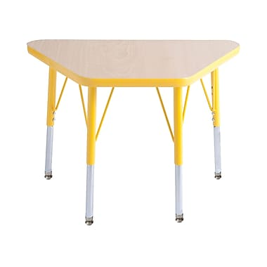 """18""""x30"""" Trapezoid T-Mold Activity Table, Maple/Yellow/Toddler Swivel"""