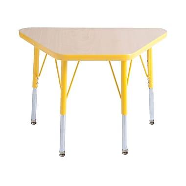"18""x30"" Trapezoid T-Mold Activity Table, Maple/Yellow/Standard Swivel"