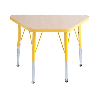 "18""x30"" Trapezoid T-Mold Activity Table, Maple/Yellow/Standard Swivel"
