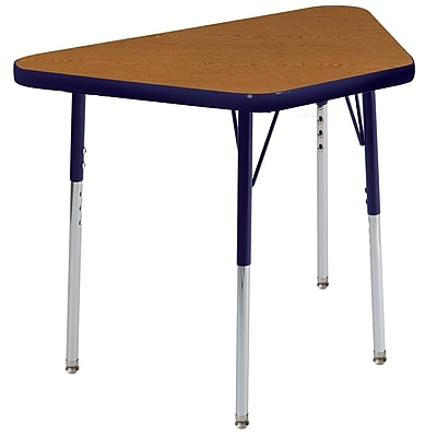 "18""x30"" Trapezoid T-Mold Activity Table, Oak/Navy/Standard Swivel"