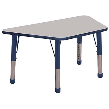 """30""""x60"""" Trapezoid T-Mold Activity Table, Grey/Navy/Chunky"""