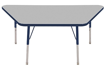 "30""x60"" Trapezoid T-Mold Activity Table, Grey/Navy/Standard Swivel"