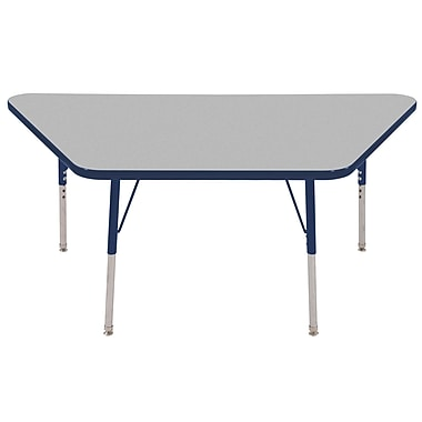 "30""x60"" Trapezoid T-Mold Activity Table, Grey/Navy/Toddler Swivel"