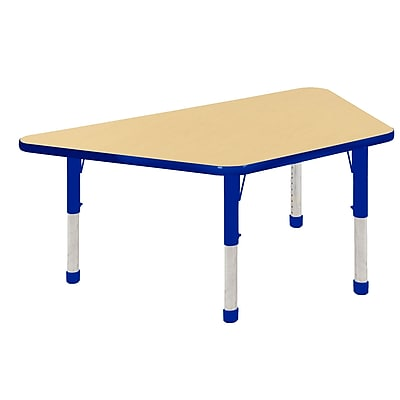 """30""""x60"""" Trapezoid T-Mold Activity Table, Maple/Blue/Chunky"""