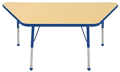 "30""x60"" Trapezoid T-Mold Activity Table, Maple/Blue/Toddler Ball"