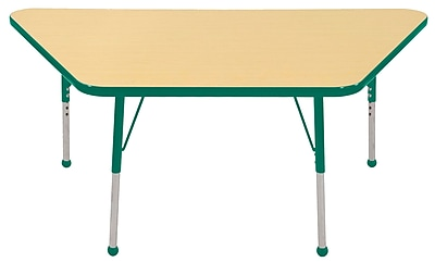 """30""""x60"""" Trapezoid T-Mold Activity Table, Maple/Green/Toddler Ball"""