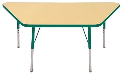 "30""x60"" Trapezoid T-Mold Activity Table, Maple/Green/Toddler Swivel"