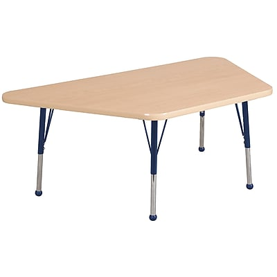 "30""x60"" Trapezoid T-Mold Activity Table, Maple/Maple/Navy/Standard Ball"