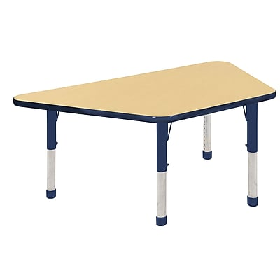 "30""x60"" Trapezoid T-Mold Activity Table, Maple/Navy/Chunky"