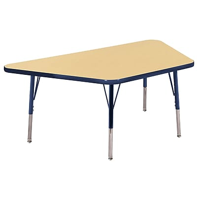 "30""x60"" Trapezoid T-Mold Activity Table, Maple/Navy/Standard Swivel"