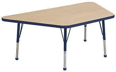 """30""""x60"""" Trapezoid T-Mold Activity Table, Maple/Navy/Toddler Ball"""