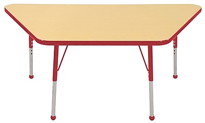 "30""x60"" Trapezoid T-Mold Activity Table, Maple/Red/Toddler Ball"