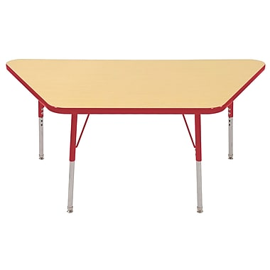 """30""""x60"""" Trapezoid T-Mold Activity Table, Maple/Red/Toddler Swivel"""
